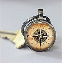 Kompass-Schlüsselanhänger, spezielles Geschenk,