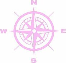 Kompass Wandtattoo Wandaufkleber Sticker Aufkleber Wand Nordpfeil Kompassrose (L = 60x60cm, Rosa)
