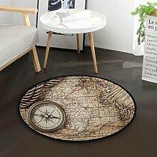 Kompass Weltkarte Windrose Seil Runde Teppich für