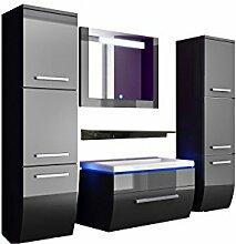Komplett 60 cm Schwarz Badmöbelset Vormontiert Badezimmermöbel Waschbeckenschrank mit waschtisch Spiegel 2 hochschränke mit LED Hochglanz