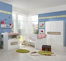 Komplett Babyzimmer Eiche weiß Babybett
