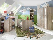 Komplett Babyzimmer Eiche - weiß Kleiderschrank