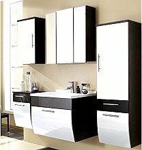 Komplett Badezimmermöbel Set Hochglanz weiß