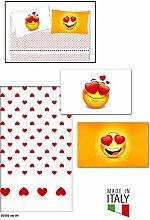 Komplett Bett Doppelbett mit Kissenbezüge in Digitaldruck Typ Emoji 100% Baumwolle hergestellt und in Italien