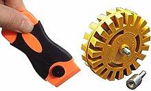 Komplett Boot Aufkleber & Aufkleber entfernen Tool Kit, mit Boot Aufkleber entfernen Gummi Rad und Kunststoff Rasierer Klinge mit 20Rasierer Klinge Kanten