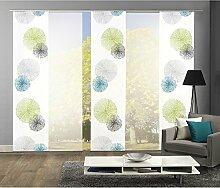 Komplett-Fenster-Schiebevorhang Scoppio, 5-er Set, 245x60 cm