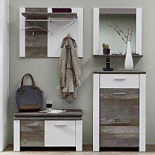 Komplett Garderoben Set in Weiß und Treibholz