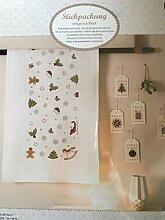 """Komplette Stickpackung für eine vorgezeichnete Tischdecke 90 x 90 cm """"Weihnachtsdeko"""