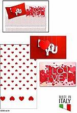 Komplettes Bett 2Plätze Doppelbett mit Kissenbezüge in Digitaldruck Typ Love Spezial Valentinstag 100% Baumwolle hergestellt und in Italien