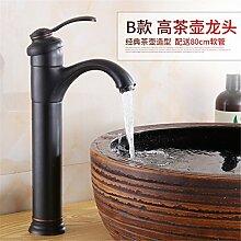 Komplettes kontinentales Kupfer Schwarz Bronze retro Wasserhahn warmes/kaltes Wasser Waschbecken Sitzbank Waschtischmischer Rotation, Abs. B) - High Tea Mixer
