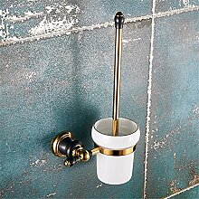 Komplettes kontinentales Kupfer Schwarz Gold - WC-Bürste, Badezimmer Hardware hängen wc Regal Regale WC-Bürste,