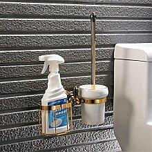 Komplettes kontinentales Kupfer Schwarz Gold - WC-Bürste, Badezimmer Hardware hängen wc Regal Regale WC-Bürste C