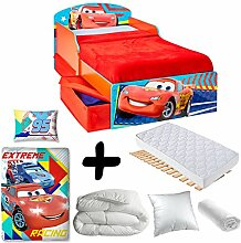 Komplettpaket Premium Bett Flash McQueen Schubladen Cars Disney = Bett + Matratze & Bettwäsche + Bettdecke + Kissen