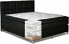 Komplettset Boxspringbett MOALA, Box: Taschenfederkern, Matratze: 7 Zonen - Taschenfederkern, Top Matress: Memoryschaum - Abmessung: 120 x 200 cm