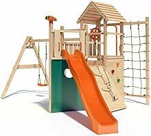 Kon Tiki Neo Spielturm Kletterturm Baumhaus mit Schaukel, Rutsche, Kletternetz, Rutschstange uvm. (einfacher Schaukelanbau)