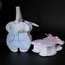 Konfektschachteln/Gastgeschenke zur Taufe, Kommunion, Motiv: Lätzchen mit Schleife, aus Vliesstoff, 12 Stück himmelblau