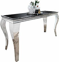 Konsole Barock schwarz silber Tisch Glas Kommode