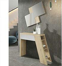 Konsolentisch und Design Wandspiegel in Weiß und