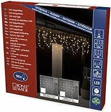 Konstsmide 2741-103 LED Eisregen Lichtervorhang / für Außen (IP44) /  24V Außentrafo / 96 warm weiße Dioden / transparentes Kabel