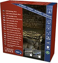 Konstsmide 3090-100 LED Mini Lichterschlauch 20m /für Außen (IP44) / 260 warm weiße Dioden / 4.5V Außentrafo, transparentes Kabel