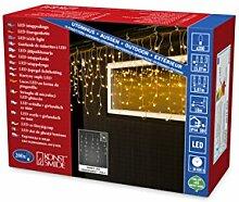 Konstsmide 3672-803 LED Eisregen Lichtervorhang, mit weißen Globes / für Außen (IP44) / 200 bernsteinfarbene Dioden / 24V Außentrafo / transparentes Kabel