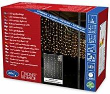Konstsmide 3674-803 LED Lichtervorhang, mit weißen Globes / für Außen (IP44) / 200 bernsteinfarbene Dioden / 24V Außentrafo / transparentes Kabel