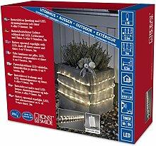Konstsmide 3743-100 LED Lichterschlauch 3m / für Außen (IP44) /  Batteriebetrieben: 4xD 1.5V (exkl.) / mit Lichtsensor, 6h und 9h Timer / 48 warm weiße Dioden / transparenter Schlauch