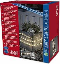 Konstsmide 3744-100 LED Lichterschlauch 6m / für Außen (IP44) /  Batteriebetrieben: 4xD 1.5V (exkl.) / mit Lichtsensor, 6h und 9h Timer / 96 warm weiße Dioden / transparenter Schlauch