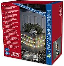 Konstsmide 3744-500 LED Lichterschlauch 6m / für Außen (IP44) /  Batteriebetrieben: 4xD 1.5V (exkl.) / mit Lichtsensor, 6h und 9h Timer / 96 bunten Dioden / transparenter Schlauch