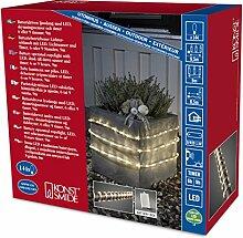 Konstsmide 3745-100 LED Lichterschlauch 9m / für Außen (IP44) /  Batteriebetrieben: 4xD 1.5V (exkl.) / mit Lichtsensor, 6h und 9h Timer / 144 warm weiße Dioden / transparenter Schlauch