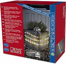 Konstsmide 3746-500 LED Lichterschlauch 18m / für Außen (IP44) /  Batteriebetrieben: 4xD 1.5V (exkl.) / mit Lichtsensor, 6h und 9h Timer / 288 bunten Dioden / transparenter Schlauch