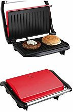 Kontaktgrill Deckel Sandwich-Maker 700 Watt Grill (Sandwich-Toaster, Multigrill, Tischgrill, Panini-Maker, Elektrogrill, Rot)