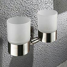 kontinental304Edelstahl Bad Becherhalter/Bad-Accessoires/Zwei Becherhalter Zahnbürste Mundwasser
