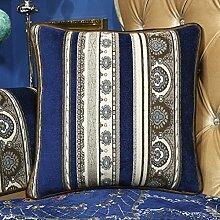 Kontinentale blauen Sofakissen/Jacquard Bett Rückenlehne/Pillow von pillowcase-B 50x50cm(20x20inch)versionA