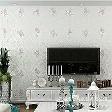 Kontinentale pastorale Tapete warme Schlafzimmer/Wohnzimmer TV Hintergrund Wand 4D voll Pu Vliestapete , light blue