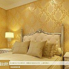 Kontinentale stereoskopische 3D geprägtes Vlies Tapeten, grüne Tapete Schlafzimmer Wohnzimmer Tapete , gold (yellow) style