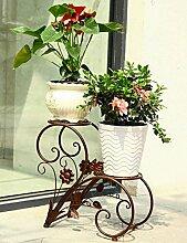 Kontinentales Eisen kreative mehrschichtige Blume Rack Verstärkung fett Balkon Montage Blumenregal Boden Pflanzer Regal einfach und kreativ moderne Wohnzimmer Indoor Blumenregal (3 Styles verfügbar) ( farbe : B )