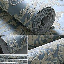 Kontinentales Luxus Wallpaper Vliesstoff Wallpaper einfach Wohnzimmer Schlafzimmer Tapete 0,53 m * 10 m, Saphirblau