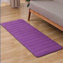 KOOCO 1 Stück Memory Material Teppich für Wohnzimmer und Schlafzimmer Dicke rutschfeste Teppich für Badezimmer solide Teppich auf dem Boden 5 Farben V20, lila, 40 X 60 CM