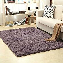 KOOCO 1 Stück Soft Long-Villus Teppich für Wohnzimmer rutschhemmend Teppiche auf dem Boden bequem Solide Wolldecken für Schlafzimmer 15 Farben V20, Dunkelgrau, 40 X 60 CM