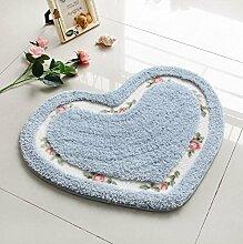 KOOCO 1-teiliger Pastorale Shaggy Heart-Shaped Wolldecke für Wohnzimmer Wolldecke für Schlafzimmer Rutschfest Waschbar, Blau, 50 X 65 CM