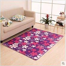 KOOCO 120 X 160 cm große Teppiche für Wohnzimmer Blume Schlafzimmer Teppiche Fußmatte Couchtisch Teppich Kinder Spielteppich, lila Blumen, 1200 mm x 1600 mm, China