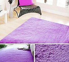 KOOCO 140 X 200 CM Pastorale großen Teppich für Wohnzimmer Schlafzimmer weiche Teppiche 4,5CM Fell rutschhemmend Couchtisch Teppiche Spielteppich, Lila, 1400 mm X 2000 mm, China