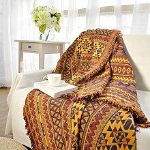 KOOCO Ethnischen Stil gelb Sofa Handtuch Decke geometrische Muster Teppich für Wohnzimmer Schlafzimmer Wolldecke Tagesdecke Staubschutz Tapisserie, 230 CMx 250 CM.