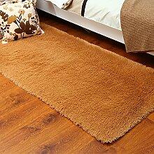 KOOCO Farbe Anti Slip seidig Faux künstliche Haut weich Zottig Plüsch Bodenbelag Wohnzimmer Flauschige großen Bereich Wolldecke für Schlafzimmer, Khaki, 45 CM, 200 X 230 CM