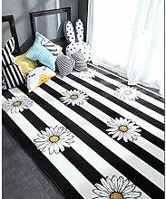 KOOCO Mode Weiß Schwarz Sun Leopard Wohnzimmer Schlafzimmer dekorativen Teppich Teppich boden im Badezimmer Tür Yoga Baby krabbeln Spielteppich, Sonnenblumen Streifen, 150 X 195 CM 59 X 76 Zoll