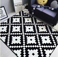KOOCO Mode Weiß Schwarz Sun Leopard Wohnzimmer Schlafzimmer dekorativen Teppich Teppich boden im Badezimmer Tür Yoga Baby krabbeln Spielteppich, Geometrische, 80 X 185 CM 31 X 73 Zoll