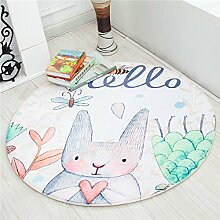 KOOCO Niedliche Kaninchen Teppich Spielzeug Kinder Spiel rutschfeste Matten Home Wolldecke Baby Krabbeln multifunktionale Runde Decke, Spielteppich, Durchmesser 90 cm.
