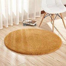 KOOCO Plüsch Shaggy Weichen runden Teppich rutschfeste Wasseraufnahme, Wolldecke Yogamatte für Schlafzimmer Wohnzimmer Wohnzimmer Home liefert, Khaki, 60 CM