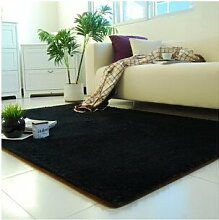 KOOCO Verdickung Wasser waschen Teppich Matten Wohnzimmer Couchtisch Bett Wolldecke 120*160 cm, schwarz, 1200 mm X 1600 mm X 45 MM